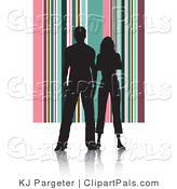 Pal Clipart of a Couple Silhouetted in Black Standing Against a Pink and Green Striped Background by KJ Pargeter