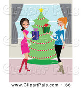 Pal Clipart of a Couple Women Laughing and Exchanging Christmas Presents in Front of a Tree by Peachidesigns