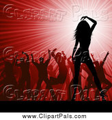 Pal Clipart of a Crowd of Silhouetted Dancers over a Red Party Burst by KJ Pargeter