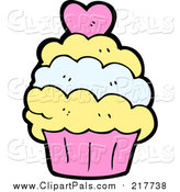 Pal Clipart of a Cupcake with a Heart by Lineartestpilot
