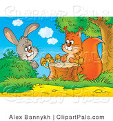 Pal Clipart of a Curious Gray Bunny Rabbit Behind a Bush, Watching a Squirrel by a Tree Stump with Mushrooms by Alex Bannykh