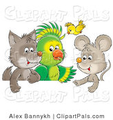 Pal Clipart of a Cute Baby Wolf, Parrot, Yellow Bird and Mouse Talking As Friends by Alex Bannykh