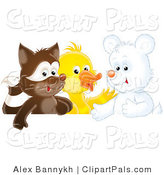 Pal Clipart of a Cute Badger, Duck and White Bear Cub Playing Together by Alex Bannykh