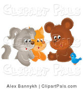 Pal Clipart of a Cute Bluebird Chatting with a Cute Bear, Kitten and Puppy by Alex Bannykh