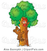 Pal Clipart of a Cute Brown Bear Cub Climbing a Tree to Visit a Friendly Squirrel by Alex Bannykh