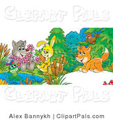 Pal Clipart of a Cute Cartoon Wolf Holding Flowers, a Frog on a Lily Pad, Bunny Sitting on a Stump with a Carrot and Fox Chatting with a Bird by Alex Bannykh