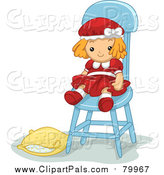 Pal Clipart of a Cute Doll Toy in a Chair with a Pillow on the Ground by BNP Design Studio