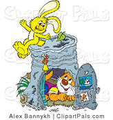 Pal Clipart of a Cute Kitty Inside a Pail Club House, a Yellow Bunny Sitting on Top by Alex Bannykh