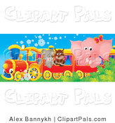 Pal Clipart of a Cute Pink Elephant, Owl and Puppy Riding on a Red Train by Alex Bannykh