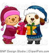 Pal Clipart of a Cute Puppy and Kitten in Winter Clothes Exchanging Christmas Presents by BNP Design Studio