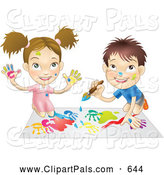 Pal Clipart of a Cute White Boy and Girl Hand Painting and Painting Together by AtStockIllustration