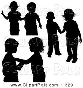 Pal Clipart of a Digital Collage of Couples of Black Silhouetted Children Playing Together by Dero