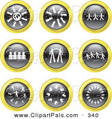 Pal Clipart of a Digital Collage of Nine Black, White and Yellow Teamwork Icons by Prawny