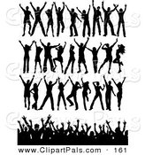 Pal Clipart of a Digital Set of Black Silhouetted Dancers in Rows and a Crowd by KJ Pargeter