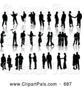 Pal Clipart of a Digital Set of Black Silhouetted People Standing, with Reflections by