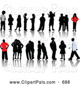 Pal Clipart of a Digital Set of Children Silhouettes, Some Wearing Red or White Clothes by
