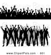 Pal Clipart of a Digital Set of Silhouetted Dancing People Borders by KJ Pargeter