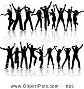 Pal Clipart of a Digital Set of Two Rows of Young Silhouetted Black Dancers by KJ Pargeter