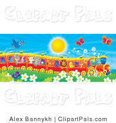 Pal Clipart of a Flying Blue Bird and Butterflies Hoovering over Flowers near a Cat, Pig, Goat, Rhino, Squirrel, Lion, Chick and Fox on a Train on a Sunny Day by Alex Bannykh