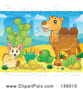Pal Clipart of a Fox and Camel by Cactus Plants in a Desert Landscape by Visekart