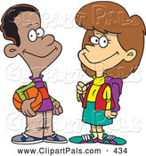 Pal Clipart of a Friendly Black Cartoon Teen Boy Talking to a School Girl, on White by Toonaday