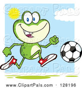 Pal Clipart of a Frog Playing Soccer on a Sunny Day by Hit Toon