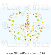 Pal Clipart of a Giraffe and Duck Surrounded by Leaves on Blue by Cherie Reve