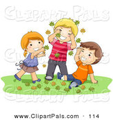 Pal Clipart of a Girl and Two Boys Playing in Autumn Leaves on the Grass by BNP Design Studio