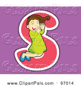 Pal Clipart of a Girl Posing over the Letter S over Purple by Graphics RF
