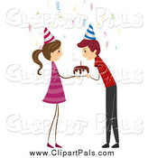 Pal Clipart of a Girl Watching a Birthday Boy Blowing out Candles by BNP Design Studio