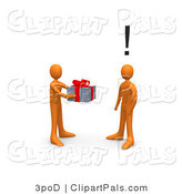 Pal Clipart of a Giving Orange Person Handing a Present to an Unsuspecting Person by 3poD