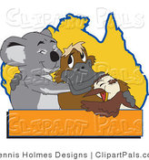 Pal Clipart of a Gray Koala, Platypus and Bird Hugging in Front of an Australian Map, with a Blank Orange Text Box by Dennis Holmes Designs