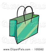 Pal Clipart of a Green Shopping or Gift Bag by Graphics RF
