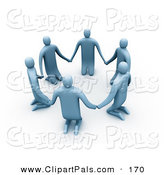 Pal Clipart of a Group of 3d Blue People Kneeling and Holding Hands in a Circle by 3poD