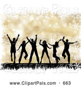 Pal Clipart of a Group of Black Silhouetted Dancing People over a Gold Halftone Christmas Background with Grunge and Snowflakes by KJ Pargeter