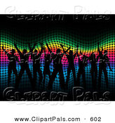 Pal Clipart of a Group of Black Silhouetted People Dancing over a Wavy Halftone Rainbow Background by KJ Pargeter