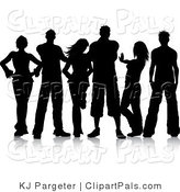 Pal Clipart of a Group of Black Silhouetted Young Men and Women Posing with Attitude by KJ Pargeter