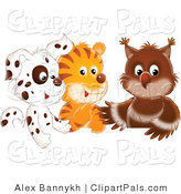 Pal Clipart of a Group of Cute Animals: a Spotted Puppy, Tiger and Baby Owl by Alex Bannykh