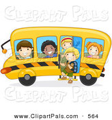 Pal Clipart of a Group of Diverse School Kids on a Bus Driving to the Left by BNP Design Studio
