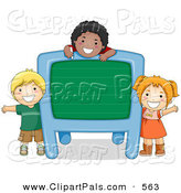 Pal Clipart of a Group of Diverse School Kids with a Blank Chalkboard by BNP Design Studio