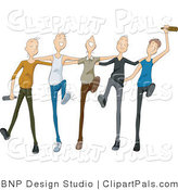Pal Clipart of a Group of Drunk Young Men Drinking and Dancing in a Line by BNP Design Studio