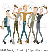 Pal Clipart of a Group of Drunk Young Men Drinking from Beer Bottles with Music Notes by BNP Design Studio