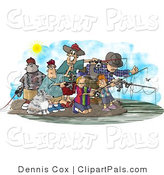 Pal Clipart of a Group of Family and Friends Fishing Together at a Lake by Djart