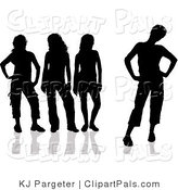 Pal Clipart of a Group of Four Black Silhouetted Women with Attitudes, Standing in Different Poses by KJ Pargeter
