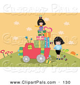 Pal Clipart of a Group of Girls Loading up a Truck with Gifts by Mayawizard101