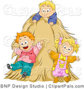 Pal Clipart of a Group of Happy Kids Playing on a Tall Hay Stack by BNP Design Studio
