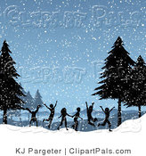 Pal Clipart of a Group of Silhouetted Children Running and Playing in the Snowflakes on a Winter Day by KJ Pargeter