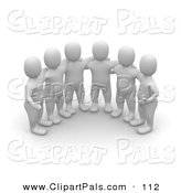 Pal Clipart of a Group of Six 3d Blanco Man Huddled by Jiri Moucka