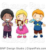 Pal Clipart of a Group of Three Diverse Children Playing with Toys and Smiling by BNP Design Studio