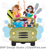 Pal Clipart of a Group of Young Men and Women Driving to the Beach in a Jeep with Surfboards and Paddles by BNP Design Studio